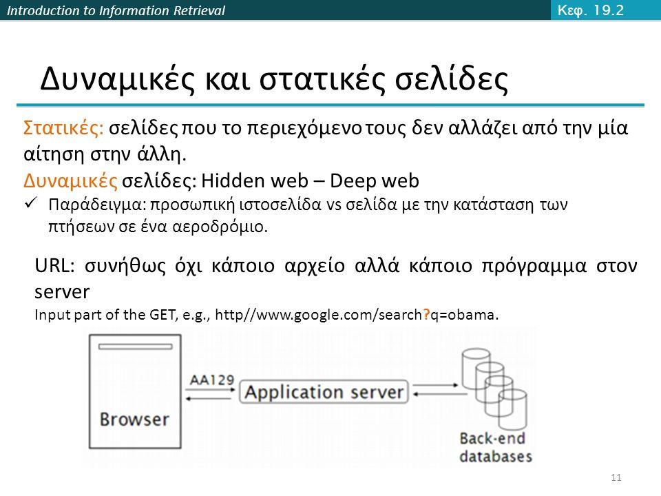 Introduction to Information Retrieval Δυναμικές και στατικές σελίδες 11 URL: συνήθως όχι κάποιο αρχείο αλλά κάποιο πρόγραμμα στον server Input part of the GET, e.g., http//www.google.com/search q=obama.