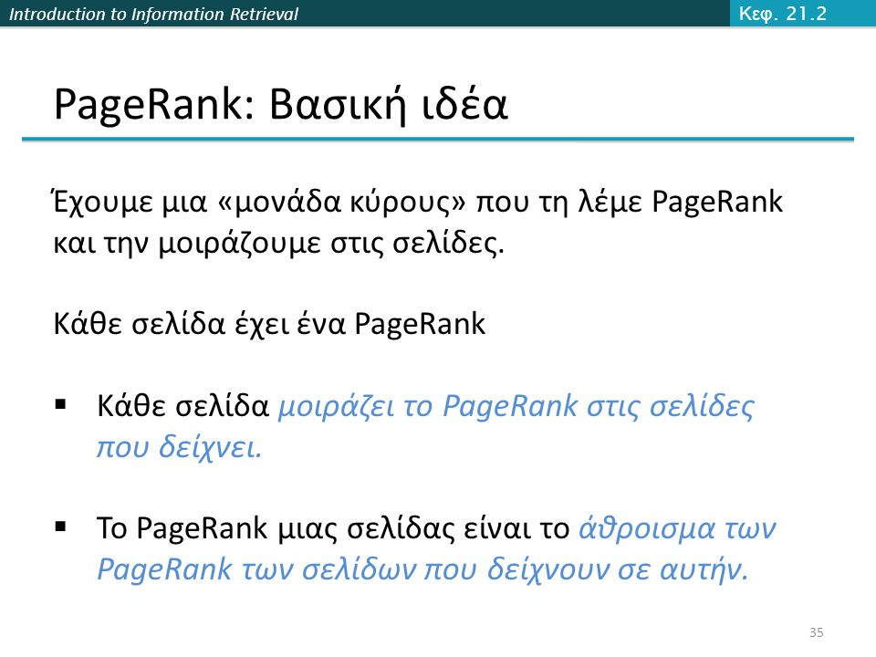Introduction to Information Retrieval PageRank: Βασική ιδέα 35 Κεφ.