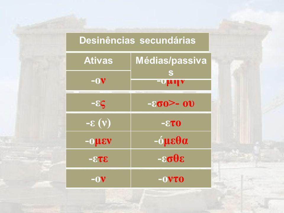 Ativas -ον-ον -ομην Médias/passiva s Desinências secundárias -ες-ες -εσο>- o υ -ε (ν)-ετο -ομεν-όμεθα -ετε-εσθε -ον-ον-οντο