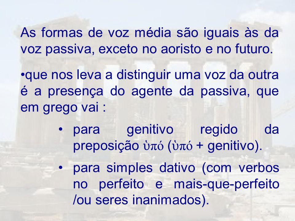 As formas de voz média são iguais às da voz passiva, exceto no aoristo e no futuro.