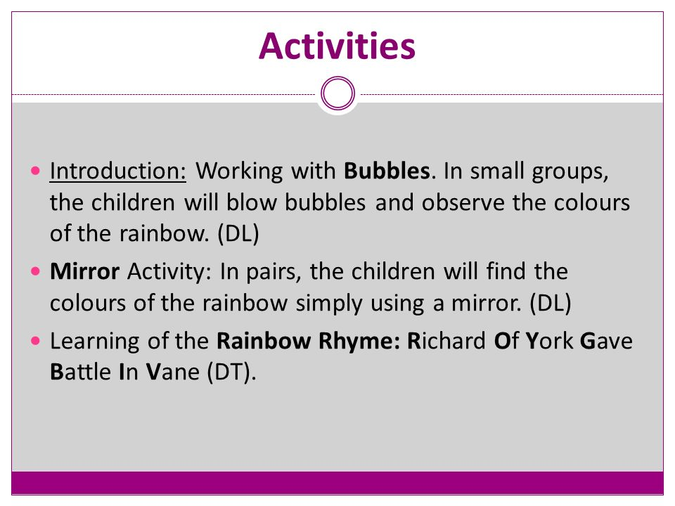 Activities Introduction: Working with Bubbles.
