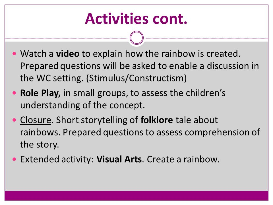 Activities cont. Watch a video to explain how the rainbow is created.