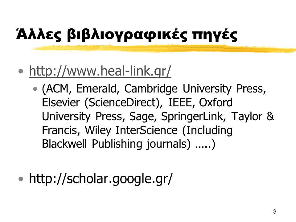 3 Άλλες βιβλιογραφικές πηγές http://www.heal-link.gr/ (ACM, Emerald, Cambridge University Press, Elsevier (ScienceDirect), IEEE, Oxford University Pre