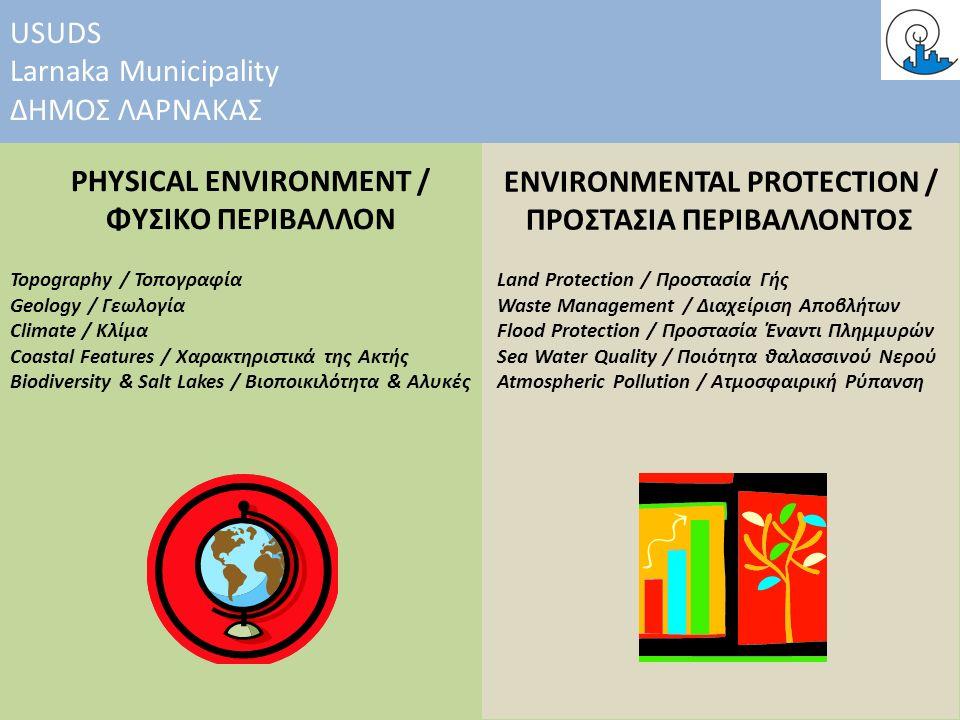 PHYSICAL ENVIRONMENT / ΦΥΣΙΚΟ ΠΕΡΙΒΑΛΛΟΝ ENVIRONMENTAL PROTECTION / ΠΡΟΣΤΑΣΙΑ ΠΕΡΙΒΑΛΛΟΝΤΟΣ USUDS Larnaka Municipality ΔΗΜΟΣ ΛΑΡΝΑΚΑΣ Topography / Τοπογραφία Geology / Γεωλογία Climate / Κλίμα Coastal Features / Χαρακτηριστικά της Ακτής Biodiversity & Salt Lakes / Βιοποικιλότητα & Αλυκές Land Protection / Προστασία Γής Waste Management / Διαχείριση Αποβλήτων Flood Protection / Προστασία Έναντι Πλημμυρών Sea Water Quality / Ποιότητα θαλασσινού Νερού Atmospheric Pollution / Ατμοσφαιρική Ρύπανση