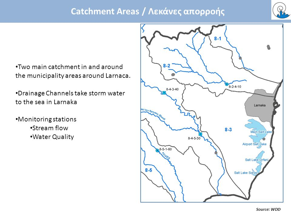 Catchment Areas / Λεκάνες απορροής Source: WDD Two main catchment in and around the municipality areas around Larnaca. Drainage Channels take storm wa