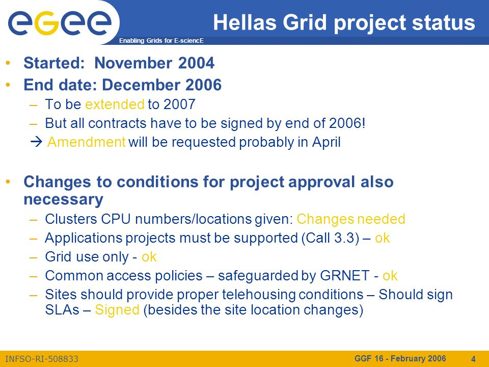 Enabling Grids for E-sciencE INFSO-RI-508833 GGF 16 - February 2006 4 Hellas Grid project status Started: November 2004 End date: December 2006 –To be