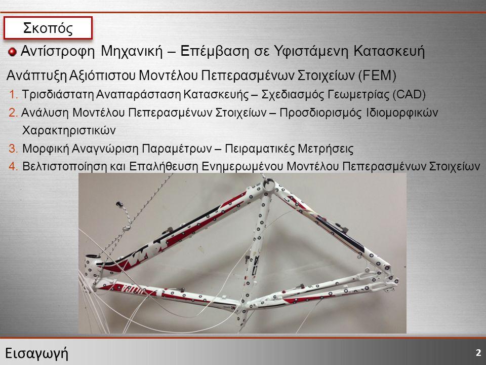2 Εισαγωγή Σκοπός Αντίστροφη Μηχανική – Επέμβαση σε Υφιστάμενη Κατασκευή Ανάπτυξη Αξιόπιστου Μοντέλου Πεπερασμένων Στοιχείων (FEM) 1. Τρισδιάστατη Ανα