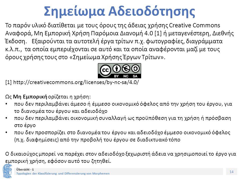 14 Übersicht - 1 Typologien der Klassifizierung und Differenzierung von Morphemen Σημείωμα Αδειοδότησης Το παρόν υλικό διατίθεται με τους όρους της άδειας χρήσης Creative Commons Αναφορά, Μη Εμπορική Χρήση Παρόμοια Διανομή 4.0 [1] ή μεταγενέστερη, Διεθνής Έκδοση.