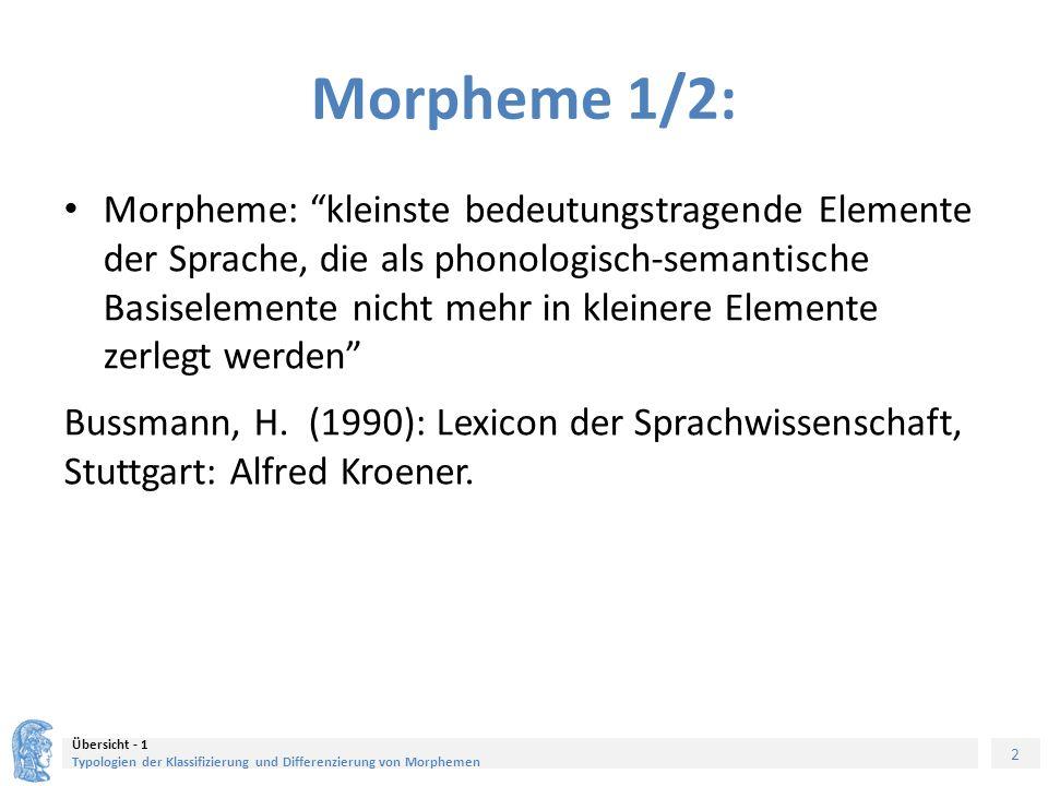 2 Übersicht - 1 Typologien der Klassifizierung und Differenzierung von Morphemen Morpheme 1/2: Morpheme: kleinste bedeutungstragende Elemente der Sprache, die als phonologisch-semantische Basiselemente nicht mehr in kleinere Elemente zerlegt werden Bussmann, H.