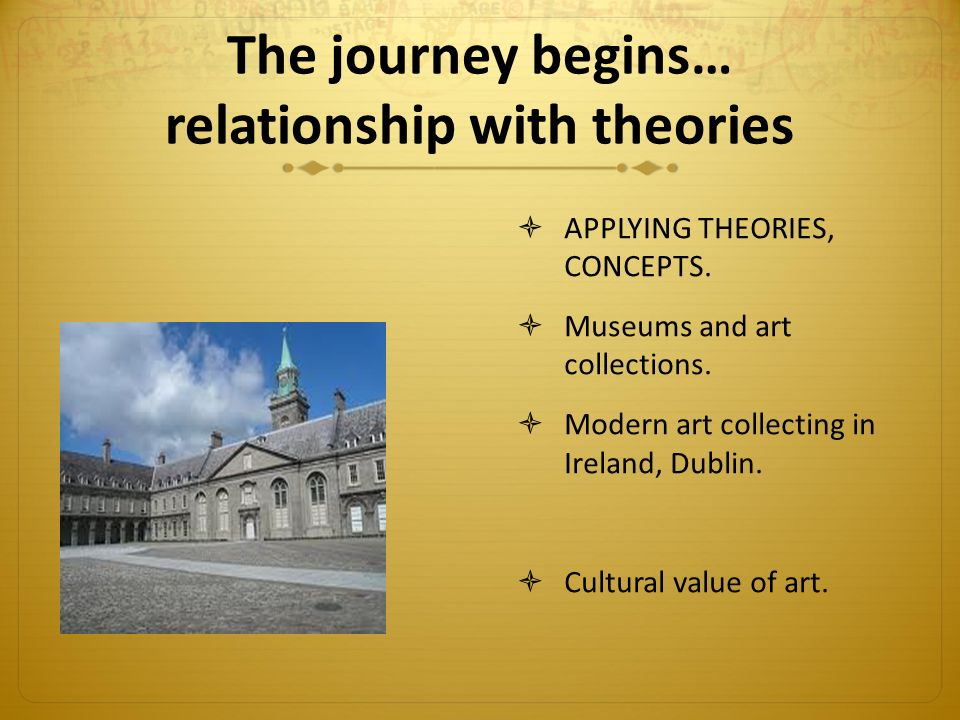 The journey begins… relationship with theories  APPLYING THEORIES, CONCEPTS.  Museums and art collections.  Modern art collecting in Ireland, Dubli