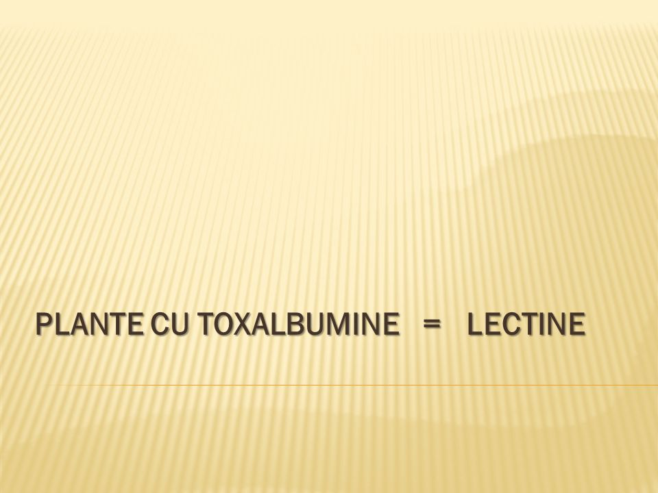 PLANTE CU TOXALBUMINE = LECTINE