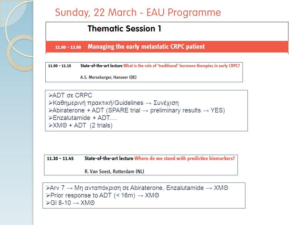  Arv 7 → Μη ανταπόκριση σε Abiraterone, Enzalutamide → XMΘ  Prior response to ADT (< 16m) → XMΘ  Gl 8-10 → XMΘ  ADT σε CRPC  Καθημερινή πρακτική/