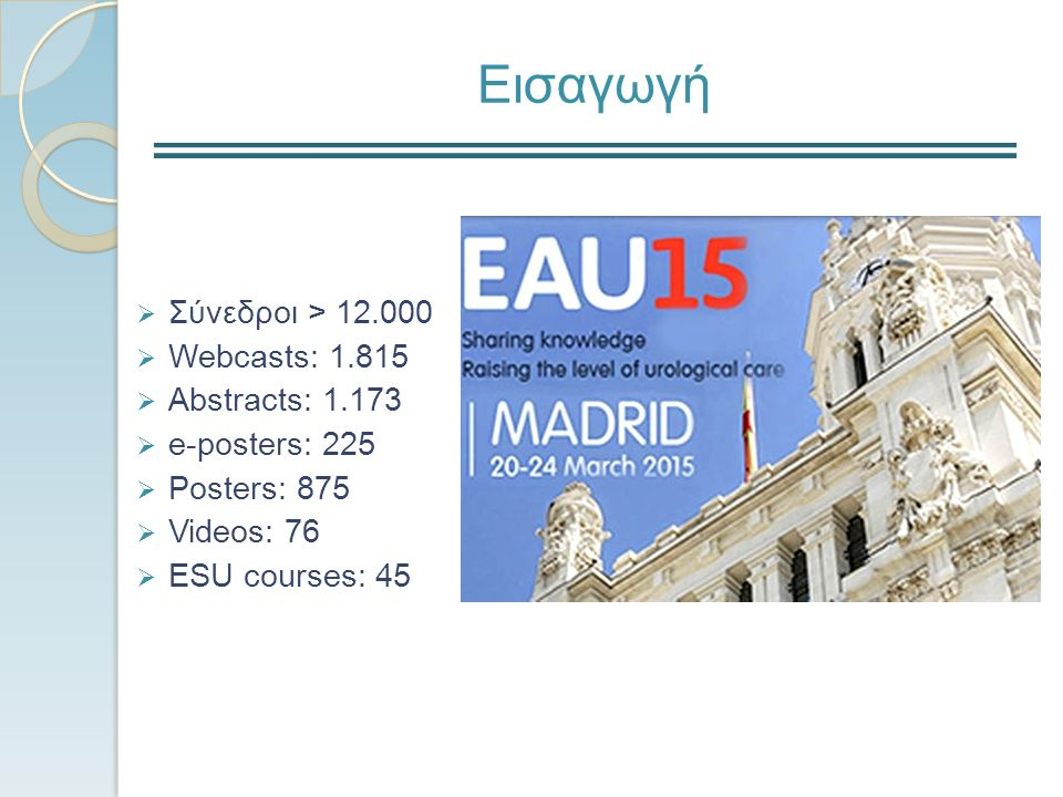 Εισαγωγή  Σύνεδροι > 12.000  Webcasts: 1.815  Abstracts: 1.173  e-posters: 225  Posters: 875  Videos: 76  ESU courses: 45