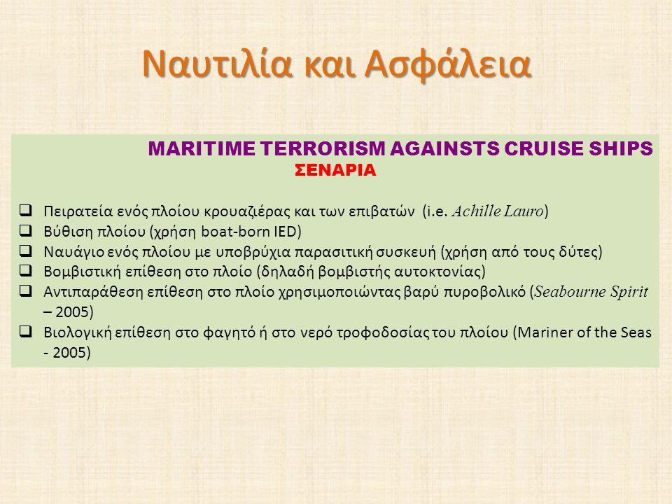 Ναυτιλία και Ασφάλεια MARITIME TERRORISM AGAINSTS CRUISE SHIPS ΣΕΝΑΡΙΑ  Πειρατεία ενός πλοίου κρουαζιέρας και των επιβατών (i.e. Achille Lauro )  Βύ