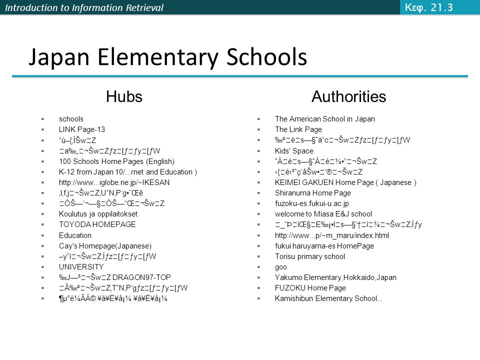 "Introduction to Information Retrieval Japan Elementary Schools  The American School in Japan  The Link Page  ‰ªèŽs—§ˆä""c¬ŠwZƒz[ƒ€ƒy[ƒW  Kids'"