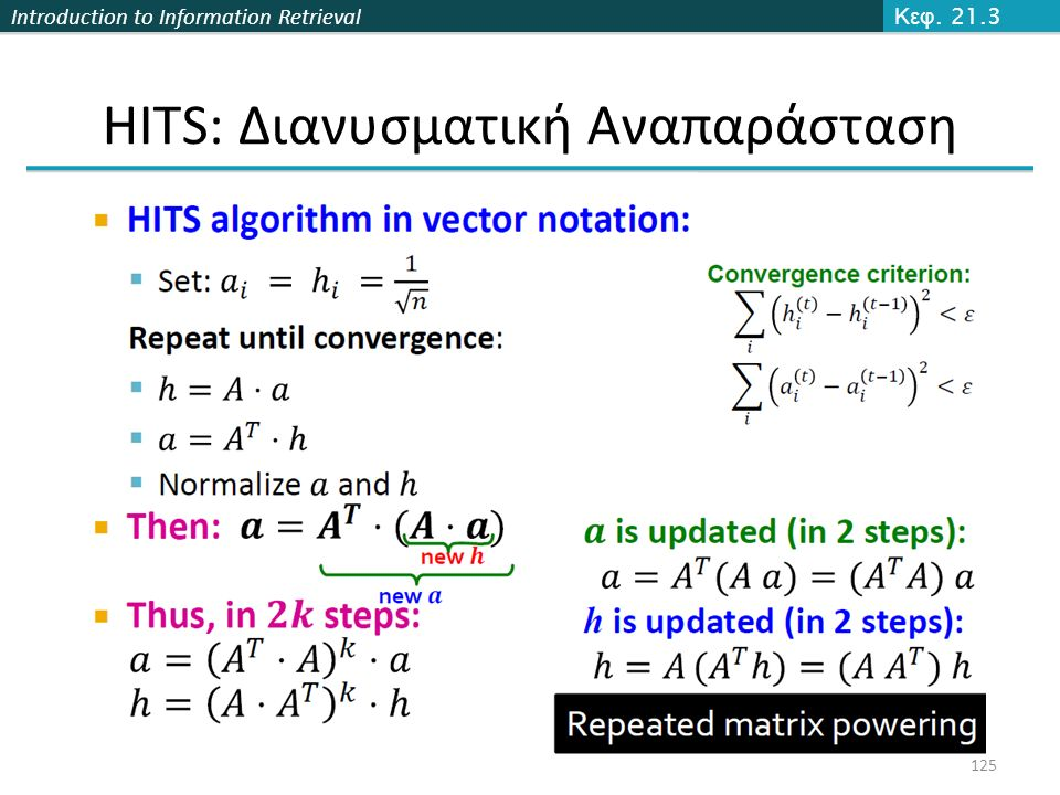 Introduction to Information Retrieval 125 Κεφ. 21.3 HITS: Διανυσματική Αναπαράσταση