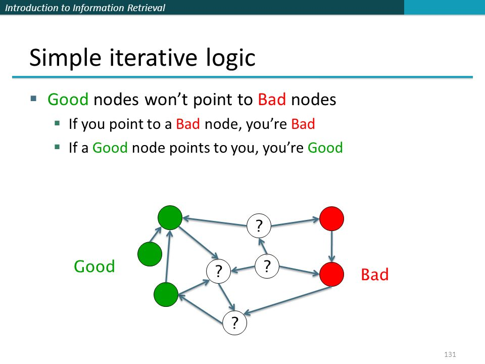 Introduction to Information Retrieval Simple iterative logic  Good nodes won't point to Bad nodes  If you point to a Bad node, you're Bad  If a Good node points to you, you're Good 131 .