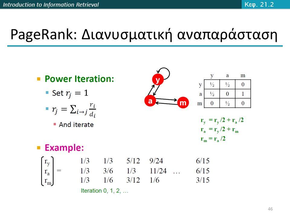 Introduction to Information Retrieval PageRank: Διανυσματική αναπαράσταση 46 Κεφ. 21.2