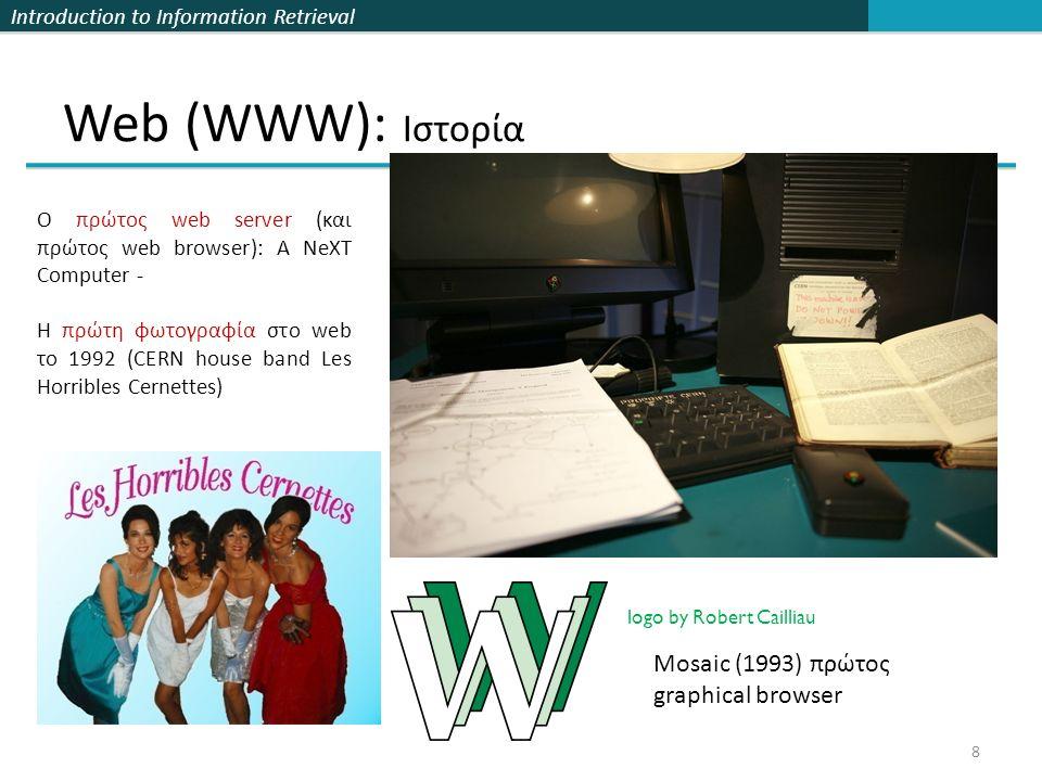 Introduction to Information Retrieval Τι θα δούμε σήμερα Κεφ 21 29  Web: λίγη ιστορία και ο web γράφος και σημασία της άγκυρας (anchor text)  Ανάλυση συνδέσμων  PageRank  HITS (Κομβικές σελίδες και σελίδες κύρους)  Διαφημίσεις