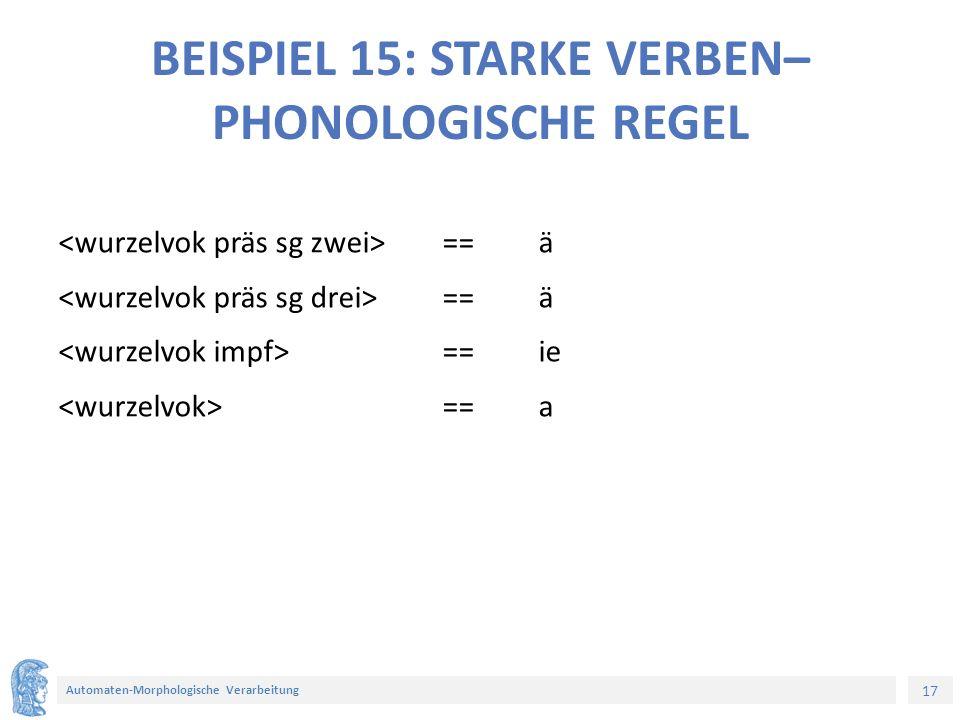 17 Automaten-Morphologische Verarbeitung BEISPIEL 15: STARKE VERBEN– PHONOLOGISCHE REGEL ==ä ==ie ==a