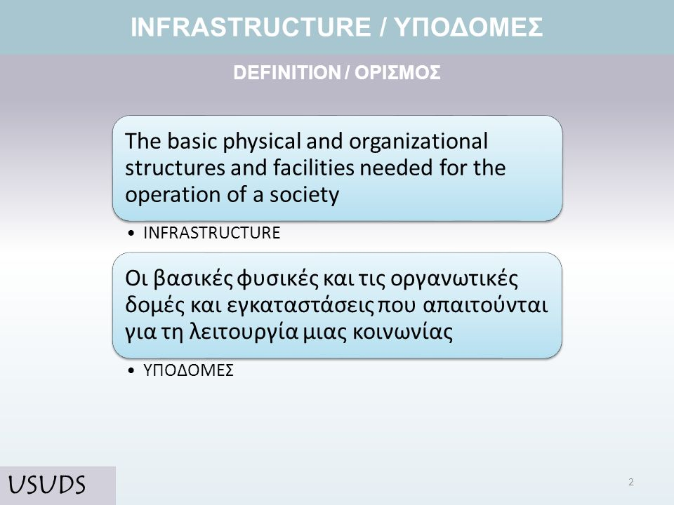 DEFINITION / ΟΡΙΣΜΟΣ INFRASTRUCTURE / ΥΠΟΔΟΜΕΣ The basic physical and organizational structures and facilities needed for the operation of a society I