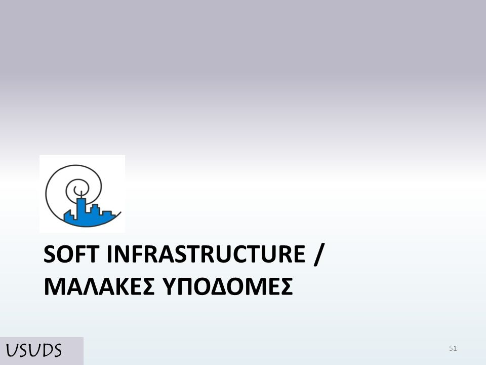 SOFT INFRASTRUCTURE / ΜΑΛΑΚΕΣ ΥΠΟΔΟΜΕΣ 51 USUDS