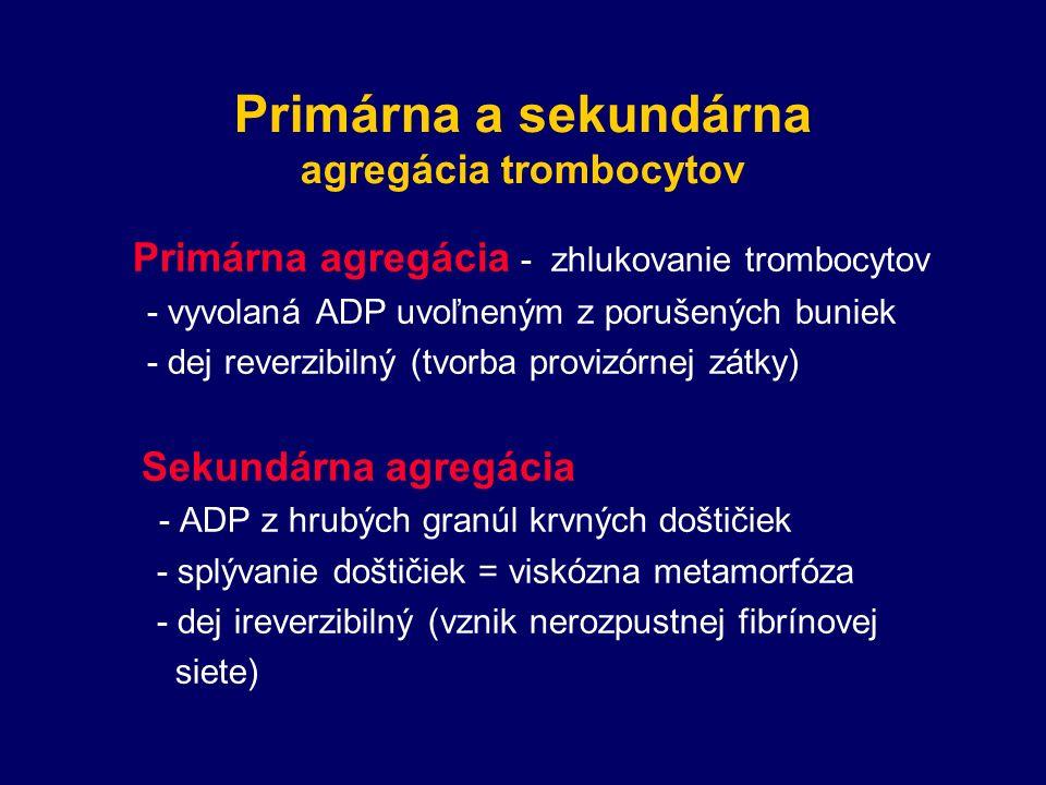 Primárna a sekundárna agregácia trombocytov Primárna agregácia - zhlukovanie trombocytov - vyvolaná ADP uvoľneným z porušených buniek - dej reverzibilný (tvorba provizórnej zátky) Sekundárna agregácia - ADP z hrubých granúl krvných doštičiek - splývanie doštičiek = viskózna metamorfóza - dej ireverzibilný (vznik nerozpustnej fibrínovej siete)