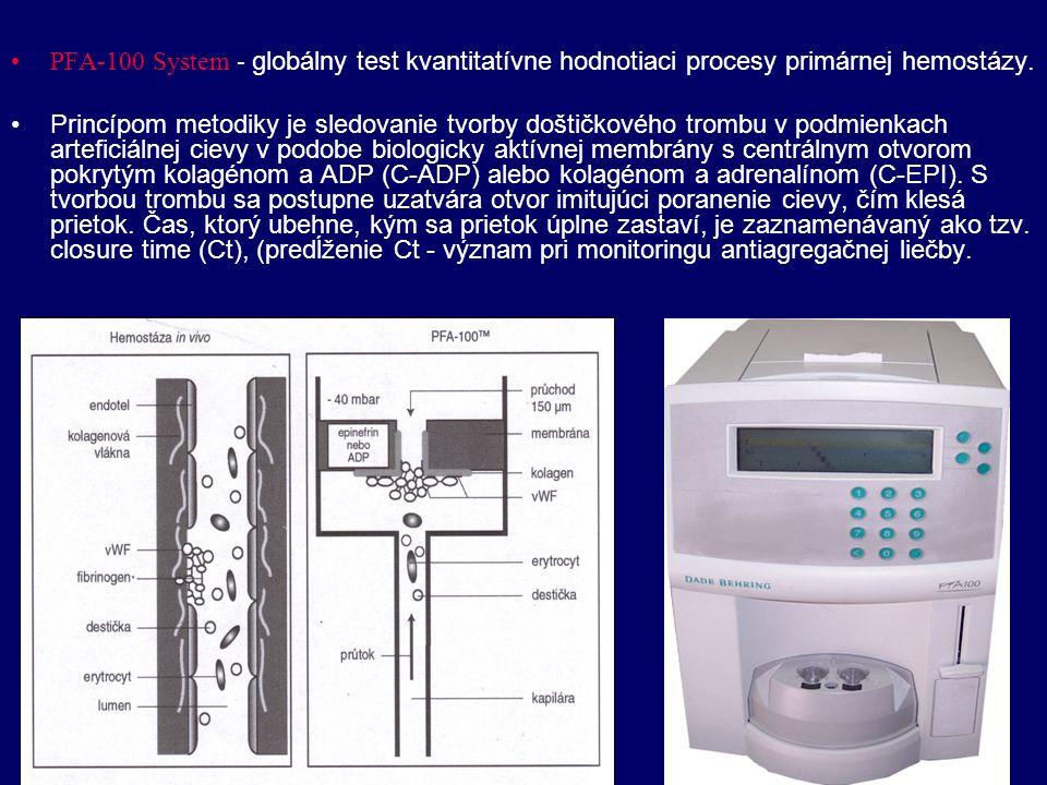 PFA-100 System - globálny test kvantitatívne hodnotiaci procesy primárnej hemostázy.