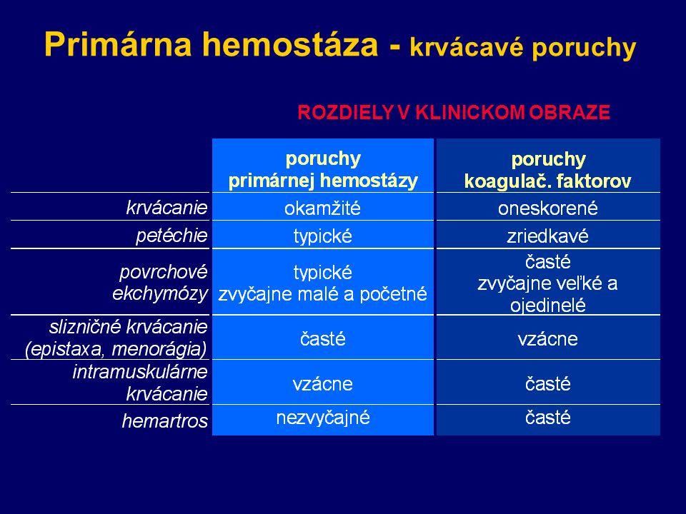 Primárna hemostáza - krvácavé poruchy ROZDIELY V KLINICKOM OBRAZE
