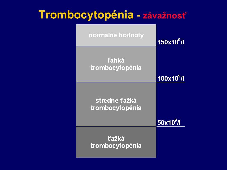 Trombocytopénia - závažnosť