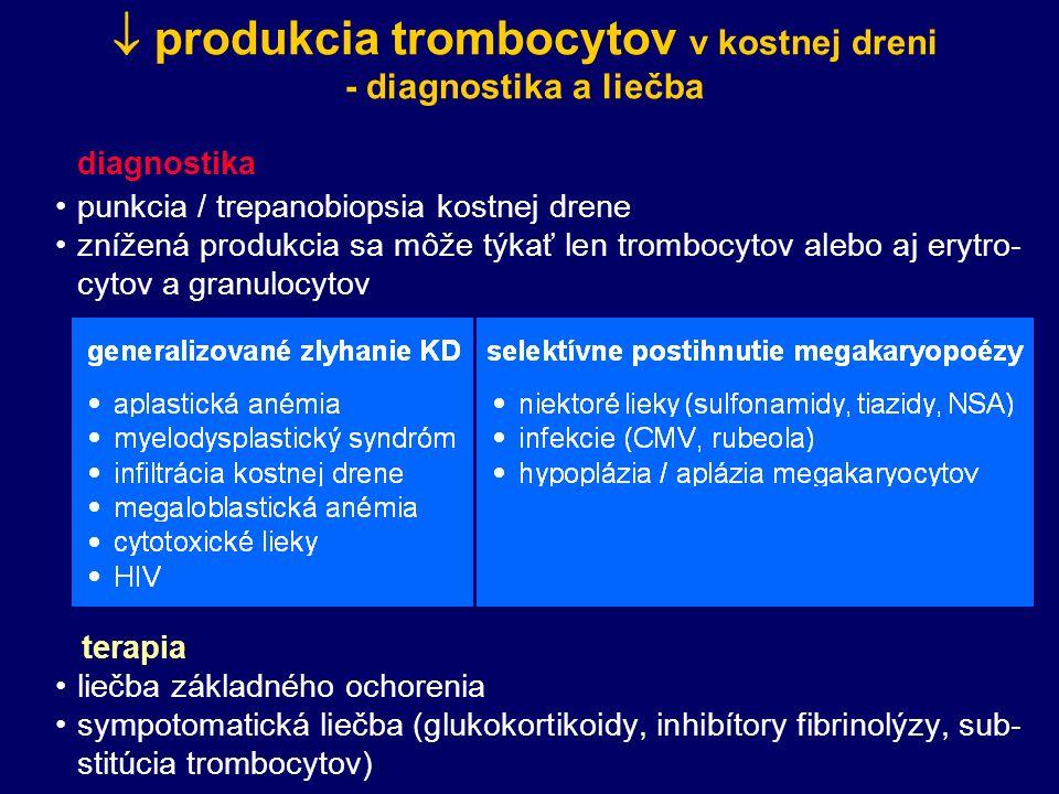 produkcia trombocytov v kostnej dreni - diagnostika a liečba diagnostika punkcia / trepanobiopsia kostnej drene znížená produkcia sa môže týkať len trombocytov alebo aj erytro- cytov a granulocytov terapia liečba základného ochorenia sympotomatická liečba (glukokortikoidy, inhibítory fibrinolýzy, sub- stitúcia trombocytov)