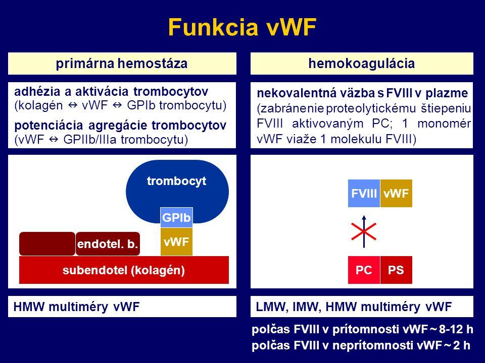 Funkcia vWF primárna hemostázahemokoagulácia trombocyt vWF subendotel (kolagén) endotel.
