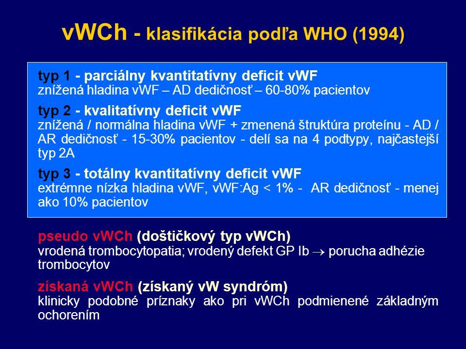 vWCh - klasifikácia podľa WHO (1994)  typ 1 - parciálny kvantitatívny deficit vWF  znížená hladina vWF – AD dedičnosť – 60-80% pacientov  typ 2 - kvalitatívny deficit vWF  znížená / normálna hladina vWF + zmenená štruktúra proteínu - AD / AR dedičnosť - 15-30% pacientov - delí sa na 4 podtypy, najčastejší typ 2A  typ 3 - totálny kvantitatívny deficit vWF  extrémne nízka hladina vWF, vWF:Ag < 1% - AR dedičnosť - menej ako 10% pacientov  pseudo vWCh (doštičkový typ vWCh)  vrodená trombocytopatia; vrodený defekt GP Ib  porucha adhézie trombocytov  získaná vWCh (získaný vW syndróm)  klinicky podobné príznaky ako pri vWCh podmienené základným ochorením