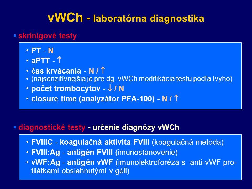 vWCh - laboratórna diagnostika  skrínigové testy PT - N aPTT -  čas krvácania - N /  (najsenzitívnejšia je pre dg.