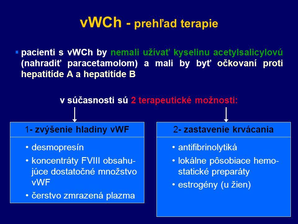 vWCh - prehľad terapie  pacienti s vWCh by nemali užívať kyselinu acetylsalicylovú (nahradiť paracetamolom) a mali by byť očkovaní proti hepatitíde A a hepatitíde B v súčasnosti sú 2 terapeutické možnosti: 2- zastavenie krvácania antifibrinolytiká lokálne pôsobiace hemo- statické preparáty estrogény (u žien) 1- zvýšenie hladiny vWF desmopresín koncentráty FVIII obsahu- júce dostatočné množstvo vWF čerstvo zmrazená plazma
