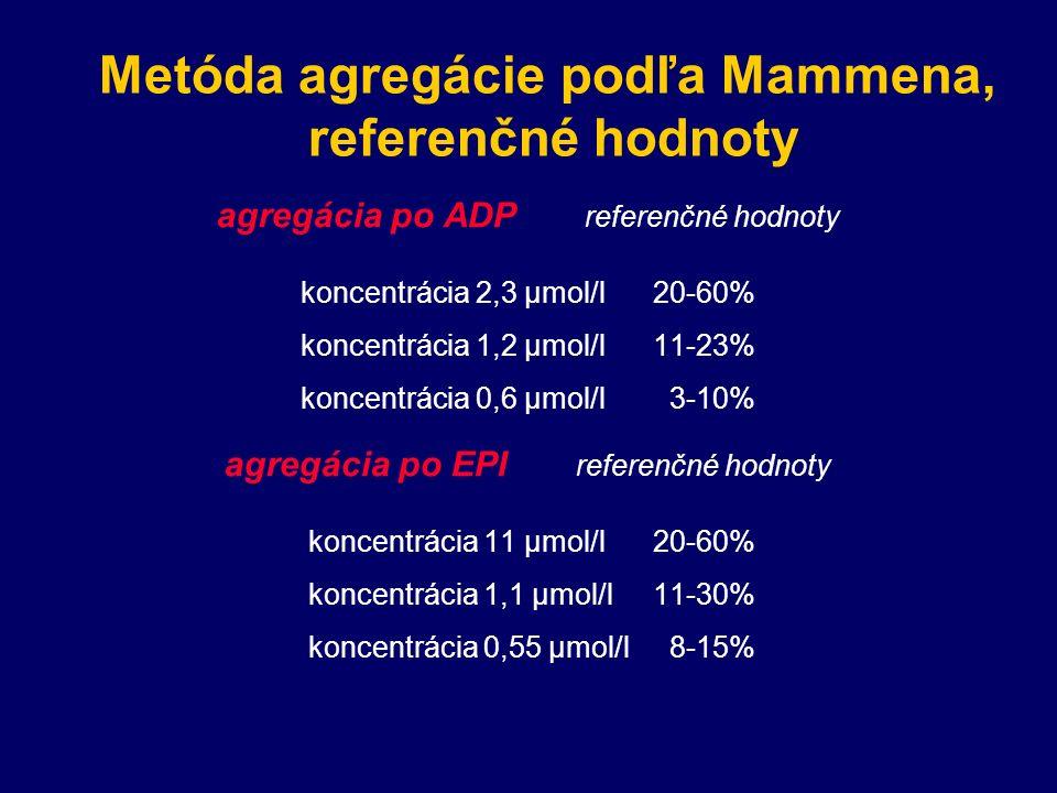 Metóda agregácie podľa Mammena, referenčné hodnoty agregácia po ADP referenčné hodnoty koncentrácia 2,3 μmol/l 20-60% koncentrácia 1,2 μmol/l11-23% koncentrácia 0,6 μmol/l 3-10% agregácia po EPI referenčné hodnoty koncentrácia 11 μmol/l20-60% koncentrácia 1,1 μmol/l11-30% koncentrácia 0,55 μmol/l 8-15%