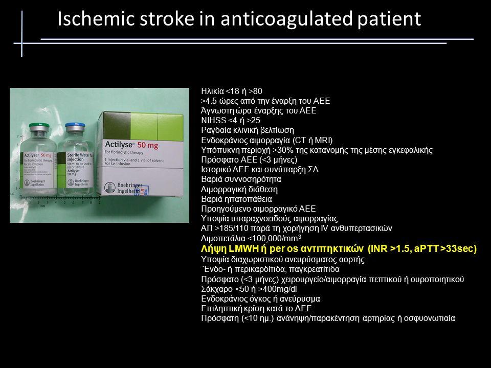 Ηλικία 80 >4.5 ώρες από την έναρξη του ΑΕΕ Άγνωστη ώρα έναρξης του ΑΕΕ NIHSS 25 Ραγδαία κλινική βελτίωση Ενδοκράνιoς αιμορραγία (CT ή MRI) Υπόπυκνη περιοχή >30% της κατανομής της μέσης εγκεφαλικής Πρόσφατο ΑΕΕ (<3 μήνες) Ιστορικό ΑΕΕ και συνύπαρξη ΣΔ Βαριά συννοσηρότητα Αιμορραγική διάθεση Βαριά ηπατοπάθεια Προηγούμενο αιμορραγικό ΑΕΕ Υποψία υπαραχνοειδούς αιμορραγίας ΑΠ >185/110 παρά τη χορήγηση IV ανθυπερτασικών Αιμοπετάλια <100,000/mm 3 Λήψη LMWH ή per os αντιπηκτικών (INR >1.5, aPTT >33sec) Υποψία διαχωριστικού ανευρύσματος αορτής Ένδο ‐ ή περικαρδίτιδα, παγκρεατίτιδα Πρόσφατο (<3 μήνες) χειρουργείο/αιμορραγία πεπτικού ή ουροποιητικού Σάκχαρο 400mg/dl Ενδοκράνιος όγκος ή ανεύρυσμα Επιληπτική κρίση κατά το ΑΕΕ Πρόσφατη (<10 ημ.) ανάνηψη/παρακέντηση αρτηρίας ή οσφυονωτιαία