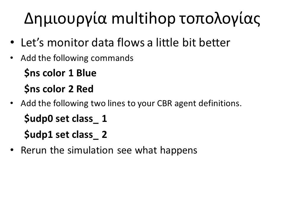 Δημιουργία multihop τοπολογίας Let's monitor the queue mechanism Add the following commands $ns duplex-link-op $n2 $n3 queuePos 0.5 Is the queue management mechanism fair ??.