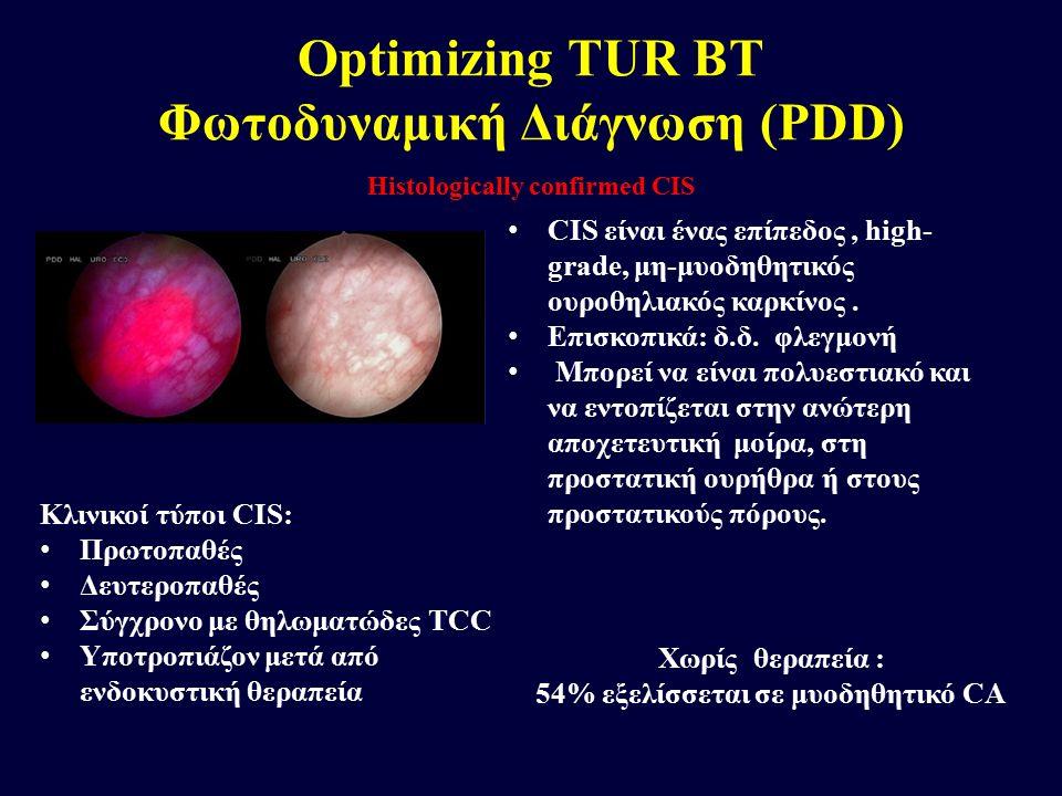 Histologically confirmed CIS Optimizing TUR BT Φωτοδυναμική Διάγνωση (PDD) CIS είναι ένας επίπεδος, high- grade, μη-μυοδηθητικός ουροθηλιακός καρκίνος