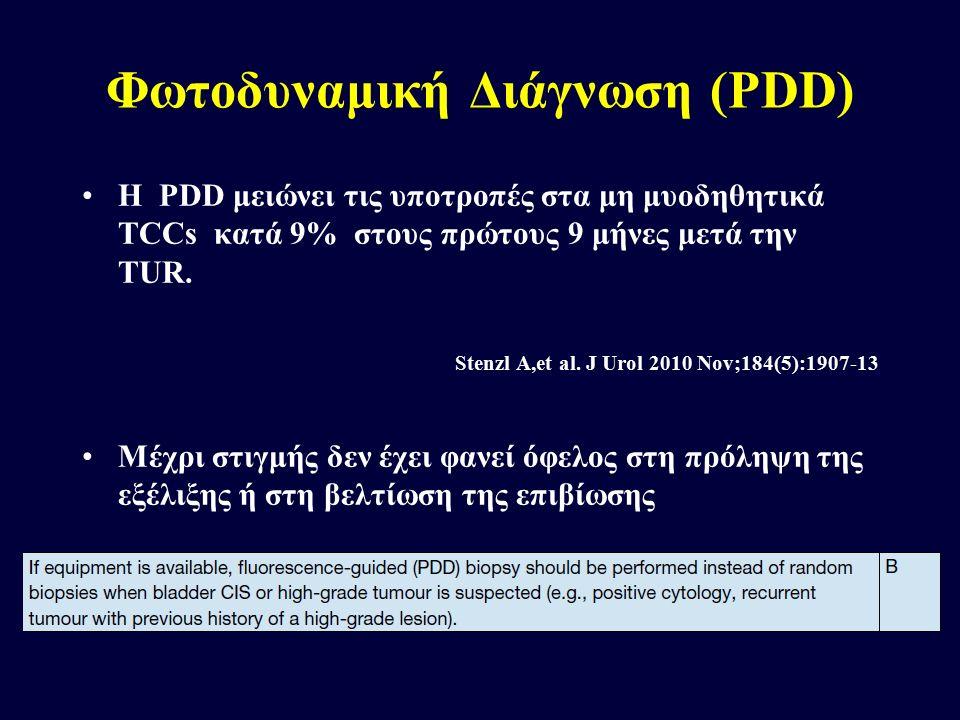 Φωτοδυναμική Διάγνωση (PDD) H PDD μειώνει τις υποτροπές στα μη μυοδηθητικά TCCs κατά 9% στους πρώτους 9 μήνες μετά την TUR. Stenzl A,et al. J Urol 201