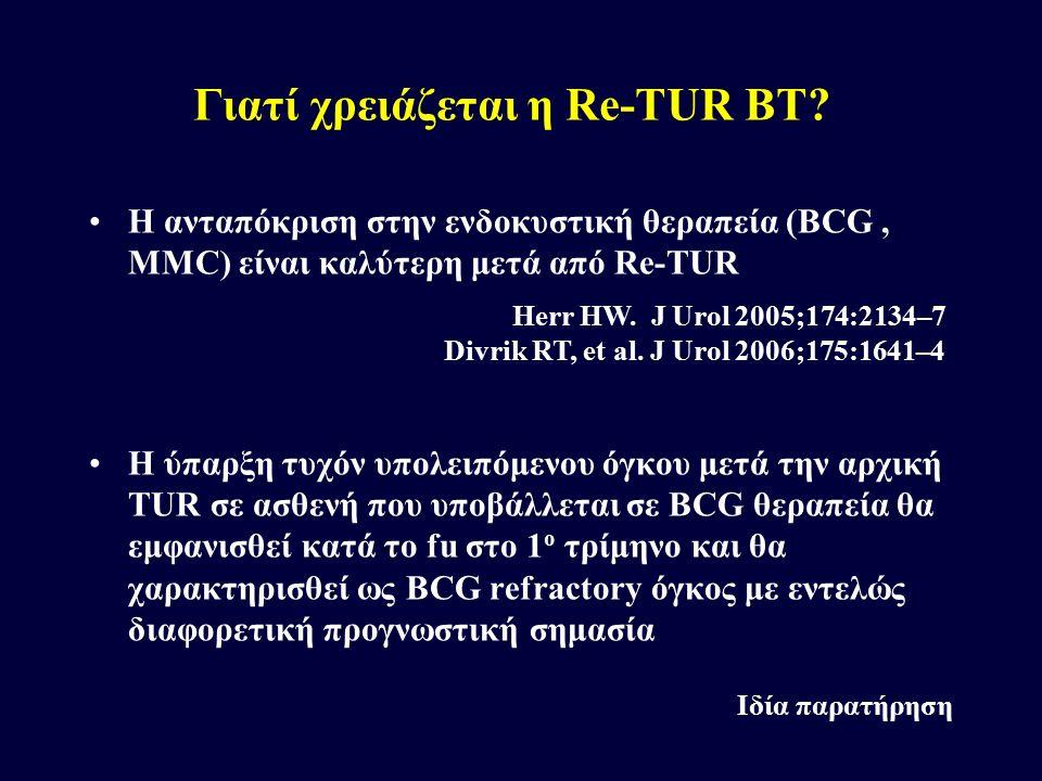 Η ανταπόκριση στην ενδοκυστική θεραπεία (BCG, MMC) είναι καλύτερη μετά από Re-TUR Η ύπαρξη τυχόν υπολειπόμενου όγκου μετά την αρχική TUR σε ασθενή που