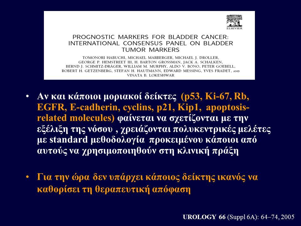 UROLOGY 66 (Suppl 6A): 64–74, 2005 Αν και κάποιοι μοριακοί δείκτες (p53, Ki-67, Rb, EGFR, E-cadherin, cyclins, p21, Kip1, apoptosis- related molecules