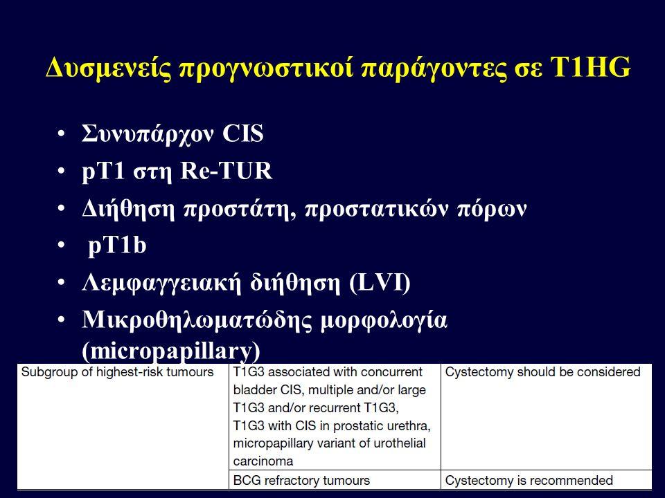 Δυσμενείς προγνωστικοί παράγοντες σε T1HG Συνυπάρχον CIS pT1 στη Re-TUR Διήθηση προστάτη, προστατικών πόρων pT1b Λεμφαγγειακή διήθηση (LVI) Μικροθηλωμ