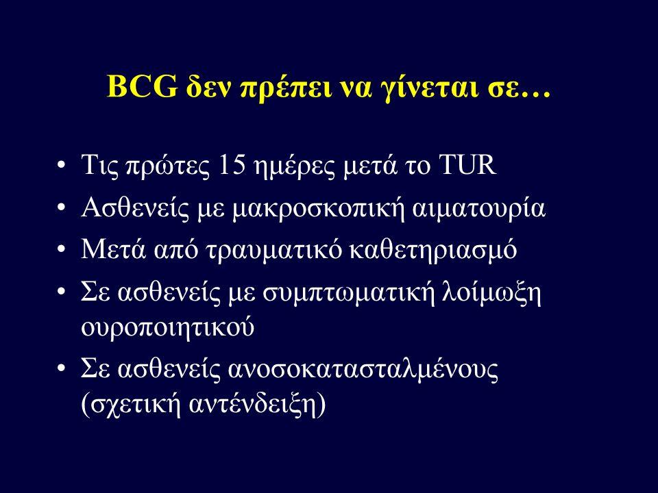 BCG δεν πρέπει να γίνεται σε… Τις πρώτες 15 ημέρες μετά το TUR Ασθενείς με μακροσκοπική αιματουρία Μετά από τραυματικό καθετηριασμό Σε ασθενείς με συμ
