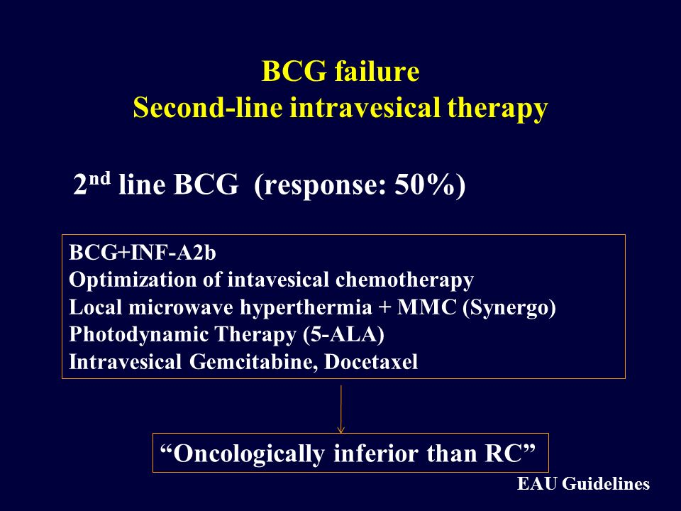 BCG failure Second-line intravesical therapy 2 nd line BCG (response: 50%) BCG+INF-A2b Optimization of intavesical chemotherapy Local microwave hypert