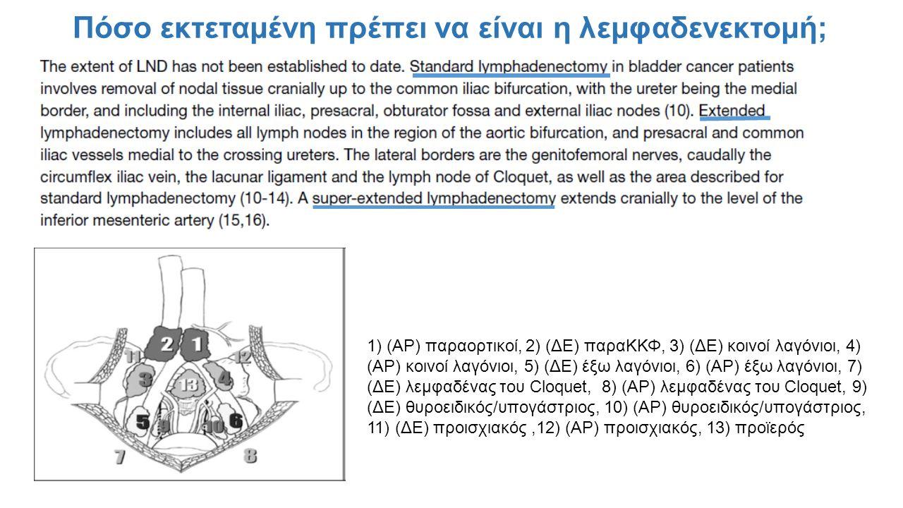 Πόσο εκτεταμένη πρέπει να είναι η λεμφαδενεκτομή; 1) (ΑΡ) παραορτικοί, 2) (ΔΕ) παραΚΚΦ, 3) (ΔΕ) κοινοί λαγόνιοι, 4) (ΑΡ) κοινοί λαγόνιοι, 5) (ΔΕ) έξω λαγόνιοι, 6) (ΑΡ) έξω λαγόνιοι, 7) (ΔΕ) λεμφαδένας του Cloquet, 8) (ΑΡ) λεμφαδένας του Cloquet, 9) (ΔΕ) θυροειδικός/υπογάστριος, 10) (ΑΡ) θυροειδικός/υπογάστριος, 11) (ΔΕ) προισχιακός,12) (ΑΡ) προισχιακός, 13) προϊερός