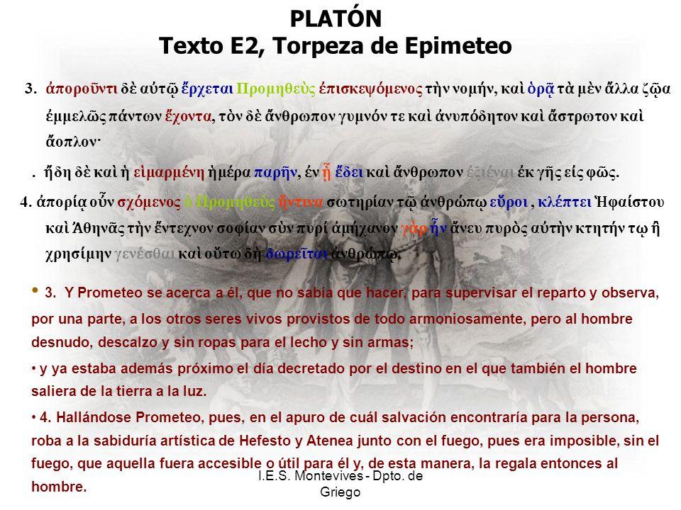 I.E.S. Montevives - Dpto. de Griego PLATÓN Texto E2, Torpeza de Epimeteo 3.