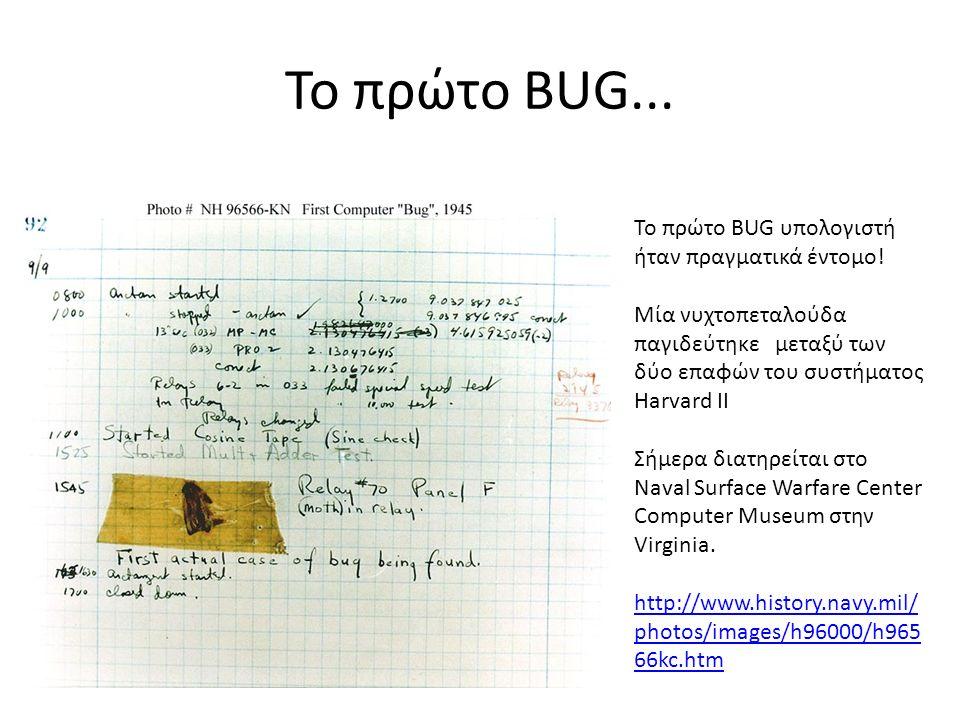 Το πρώτο BUG... Το πρώτο BUG υπολογιστή ήταν πραγματικά έντομο! Μία νυχτοπεταλούδα παγιδεύτηκε μεταξύ των δύο επαφών του συστήματος Harvard II Σήμερα