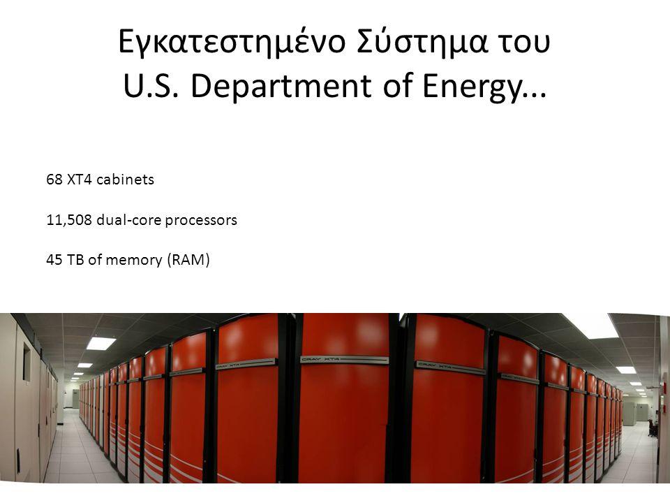 Εγκατεστημένο Σύστημα του U.S. Department of Energy... 68 XT4 cabinets 11,508 dual-core processors 45 TB of memory (RAM)