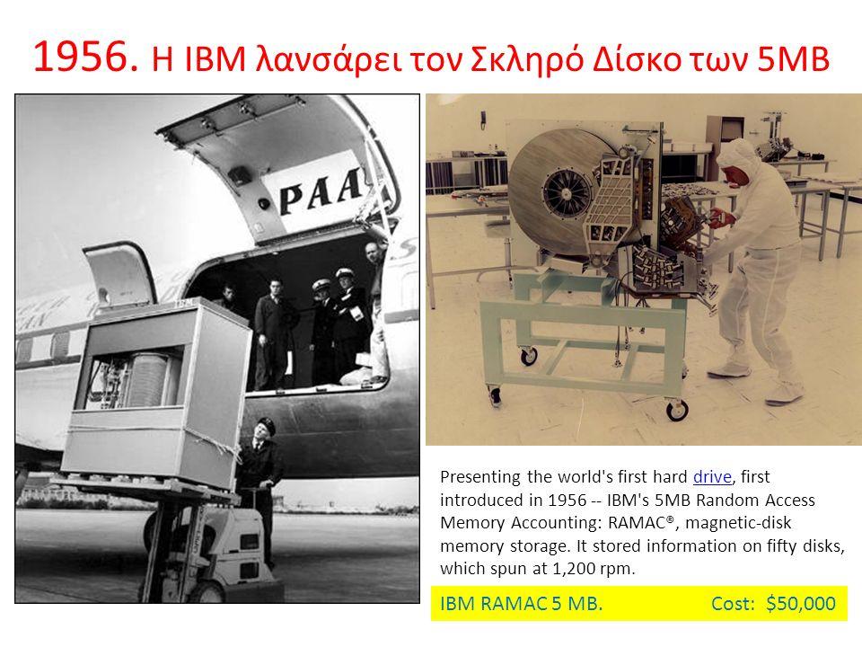 1956. Η ΙΒΜ λανσάρει τον Σκληρό Δίσκο των 5ΜΒ Presenting the world's first hard drive, first introduced in 1956 -- IBM's 5MB Random Access Memory Acco